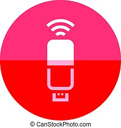 Circle icon - Internet modem - Modem icon in flat color...