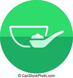 Circle icon - Porridge bowl - Porridge bowl icon in flat...
