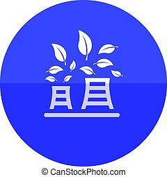Circle icon - Nuclear plant - Nuclear plant with leaves icon...