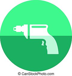 Circle icon - Electric drill - Electric drill icon in flat...