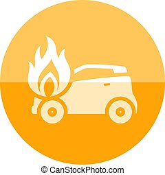 Circle icon - Car on fire - Car on fire icon in flat color...