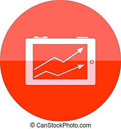 Circle icon - Arrow chart - Arrow chart icon in flat color...