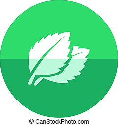 Circle icon - Basil leaf - Basil leaves icon in flat color...