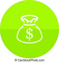 Circle icon - Money sack - Money sack icon in flat color...