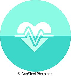 Circle icon - Heart rate - Heart rate icon in flat color...