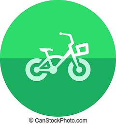 Circle icon - Kids bicycle - Kids bicycle icon in flat color...