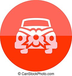 Circle icon - Green car - Green car icon in flat color...