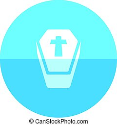 Circle icon - Coffin - Coffin icon in flat color circle...