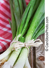 Closeup of fresh scallion on wooden background, selective...