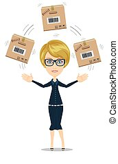 delivery service woman with box vector illustration isolated...