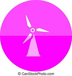 Circle icon - Wind turbine - Wind turbine icon in flat color...
