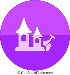 Circle icon - Sand castle - Sand castle icon in flat color...