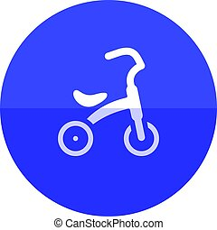 Circle icon - Kids tricycle - Kids tricycle icon in flat...