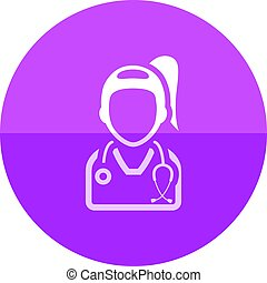 Circle icon - Doctor - Woman doctor icon in flat color...