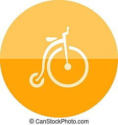 Circle icon - Penny farting - icon in flat color circle...