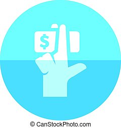 Circle icon - Service tip - Hand holding money icon in flat...