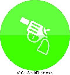 círculo, icono,  -,  revólver, arma de fuego