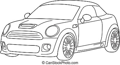 Sport car - vector, black and white - mini