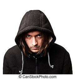guy in a hood - evil guy in a hood on white background