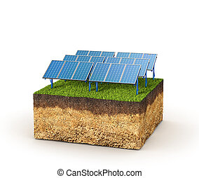 Energy concept. Cross section of ground with solar panels....