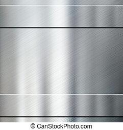 two metal stripes over aluminum brushed background 3d illustration