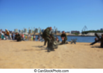 Blur river beach- special forces - The river beach - blurred...