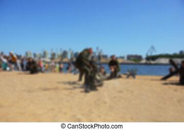 Blur river beach- special forces - The river beach - blurred...