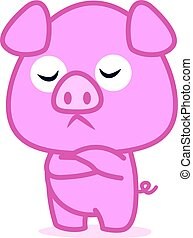 Pink pig cartoon character