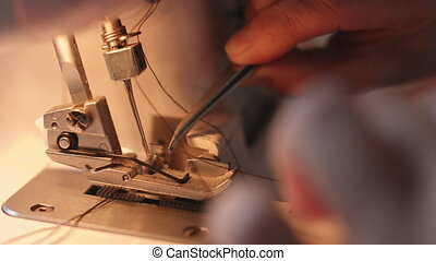 Close-up of sewing machine - Close-up view of sewing machine