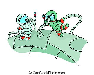 Two cosmonauts drinking wine in outer space. Funny picture...