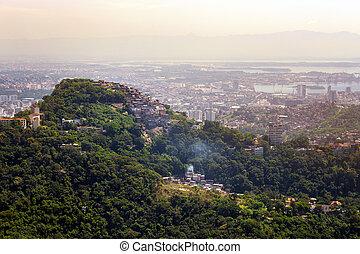 favelas of Rio - view of favela on a hill of Rio de Janeiro...