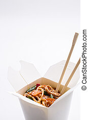 Korean noodles in white box on isolated background