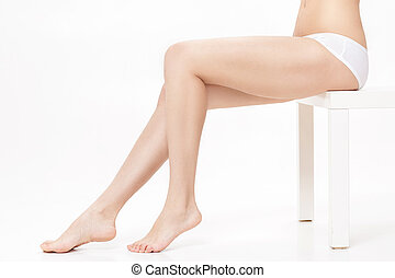 beautiful female legs with perfect smooth skin. slim legs on white background