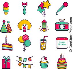 Happy birthday icons set, cartoon style