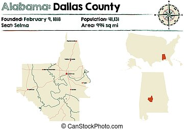 Alabama: Dallas county map