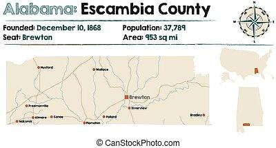 Alabama: Escambia county map