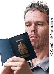 看, 他的, 護照, 人