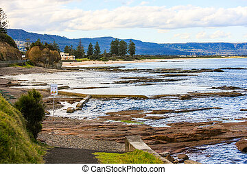 Tidal Rock Pools, North Wollongong Beach - Shallow rock...