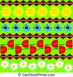 Dandelion cornflower and tulip seamless abstract pattern.eps...