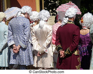 People in 18th century costumes - Men and women in 18th...
