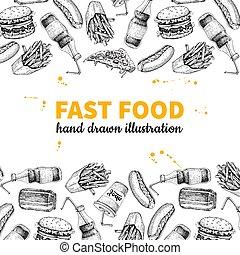 Fast food vector hand drawn frame. Hand drawn junk food menu illustration.
