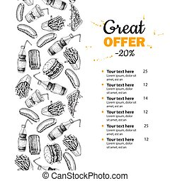 Fast food vector hand drawn menu. Hand drawn junk food stripe illustration