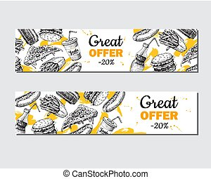 Fast food vector hand drawn banner.  Hand drawn junk food specia