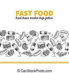 Fast food vector hand drawn seamless stripe pattern. Hand drawn junk food menu illustration.