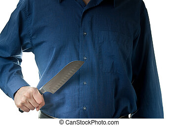 Mid-section of man in dress shirt holding knife - The...