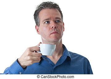 藍色, 卡普契諾咖啡, 襯衫, 杯子, 藏品, 衣服, 人