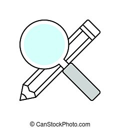 Searching keywords illustrtion - Magnifier with pencil....
