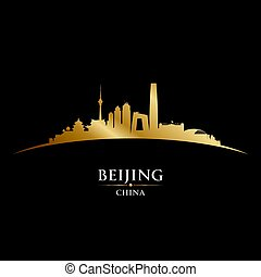 Beijing China city skyline silhouette black background