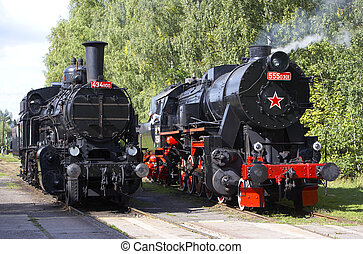 steam locomotives, depot Luzna u Rakovnika, Czech Republic