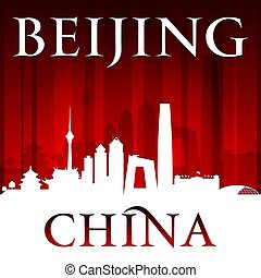 Beijing China city skyline silhouette red background